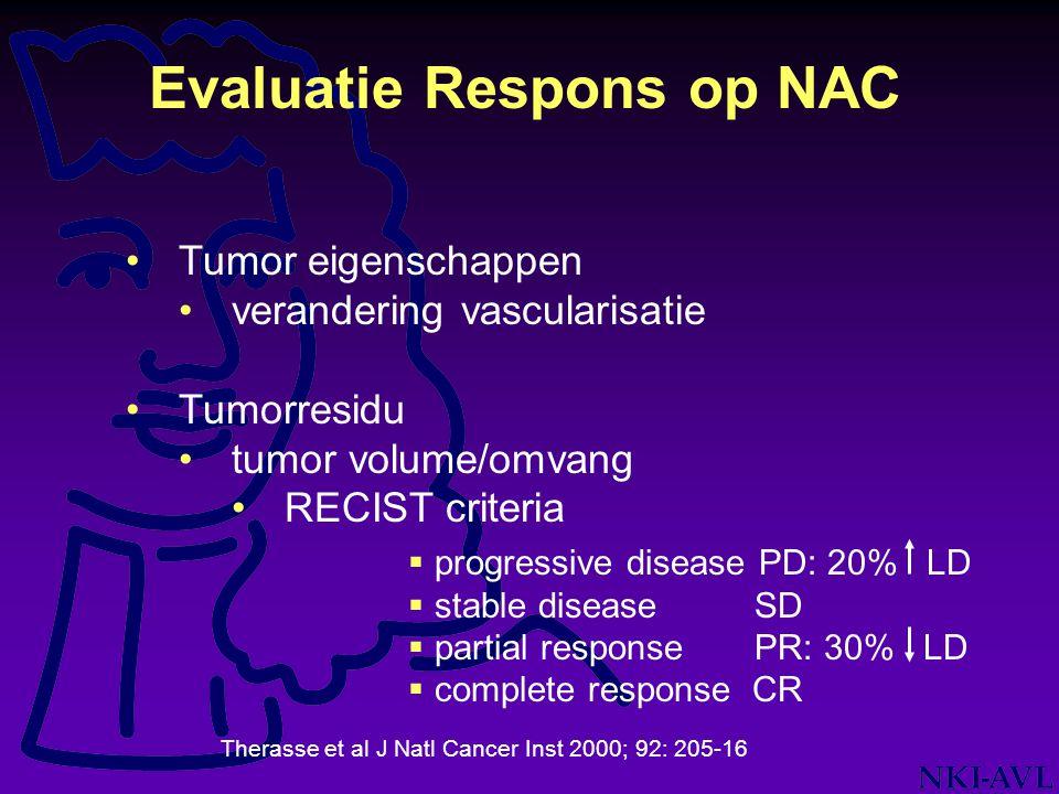 Tumor eigenschappen verandering vascularisatie Tumorresidu tumor volume/omvang RECIST criteria Evaluatie Respons op NAC Therasse et al J Natl Cancer I