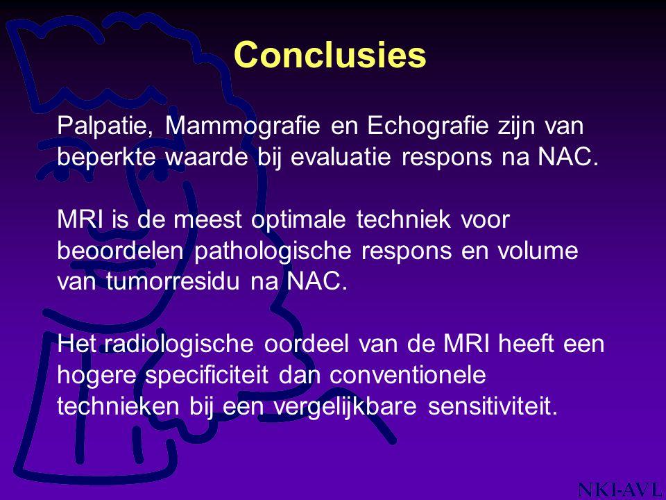 Conclusies Palpatie, Mammografie en Echografie zijn van beperkte waarde bij evaluatie respons na NAC. MRI is de meest optimale techniek voor beoordele