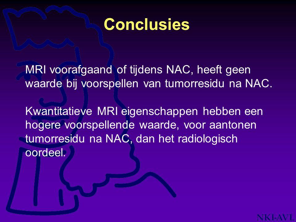 Conclusies MRI voorafgaand of tijdens NAC, heeft geen waarde bij voorspellen van tumorresidu na NAC. Kwantitatieve MRI eigenschappen hebben een hogere