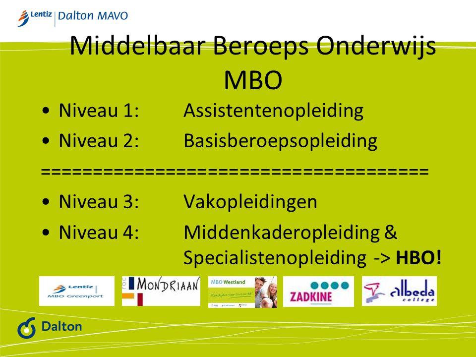 Middelbaar Beroeps Onderwijs MBO Niveau 1: Assistentenopleiding Niveau 2: Basisberoepsopleiding ===================================== Niveau 3: Vakopleidingen Niveau 4: Middenkaderopleiding & Specialistenopleiding -> HBO!