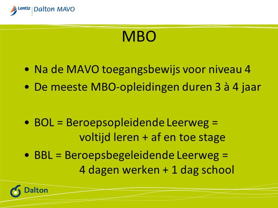 MBO Na de MAVO toegangsbewijs voor niveau 4 De meeste MBO-opleidingen duren 3 à 4 jaar BOL = Beroepsopleidende Leerweg = voltijd leren + af en toe stage BBL = Beroepsbegeleidende Leerweg = 4 dagen werken + 1 dag school