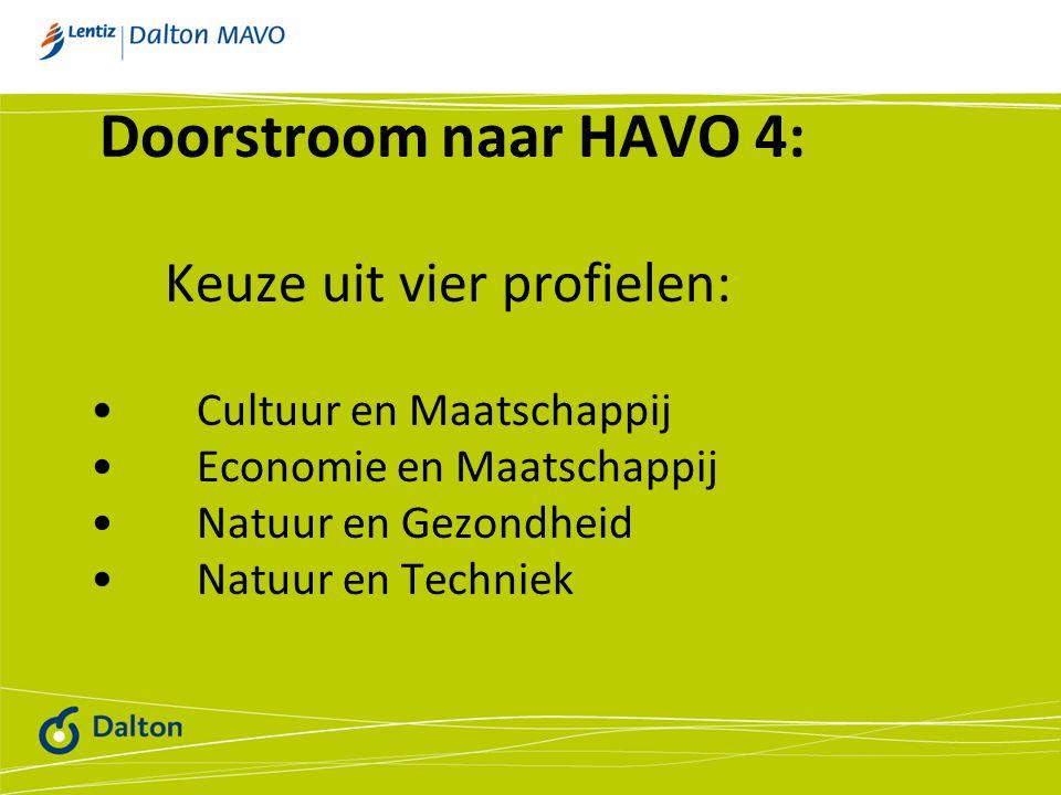 Doorstroom naar HAVO 4: Keuze uit vier profielen: Cultuur en Maatschappij Economie en Maatschappij Natuur en Gezondheid Natuur en Techniek