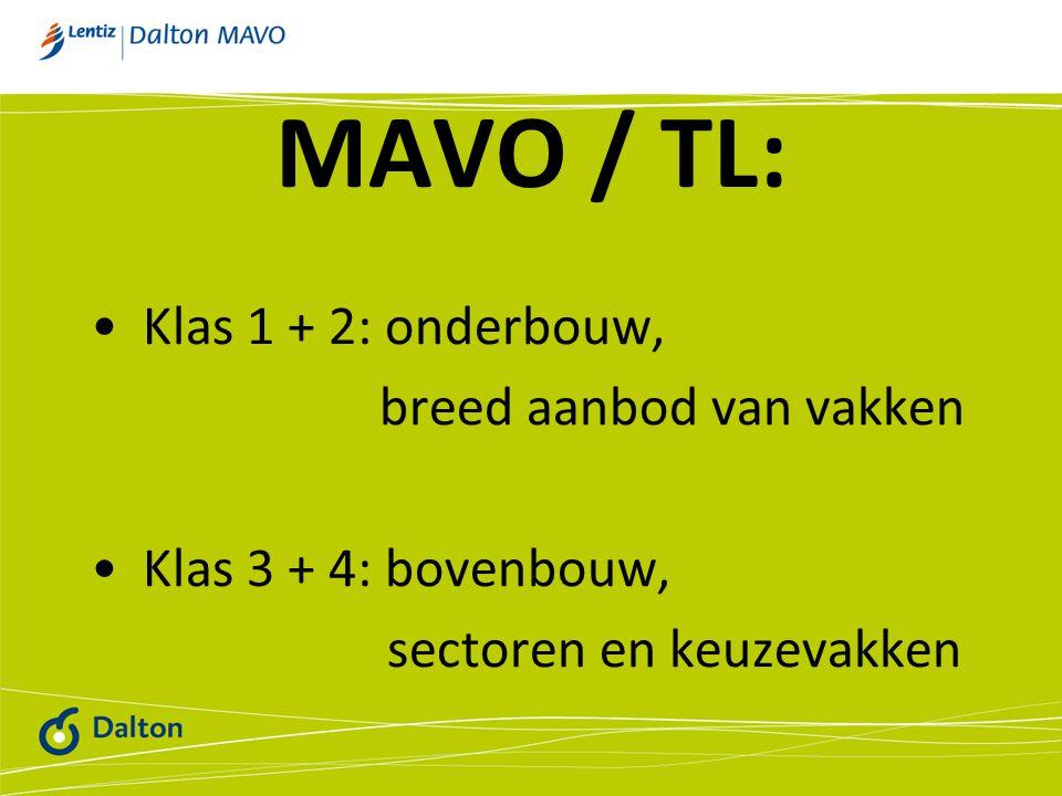 MAVO / TL: Klas 1 + 2: onderbouw, breed aanbod van vakken Klas 3 + 4: bovenbouw, sectoren en keuzevakken