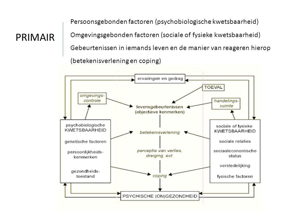 Persoonsgebonden factoren (psychobiologische kwetsbaarheid) Omgevingsgebonden factoren (sociale of fysieke kwetsbaarheid) Gebeurtenissen in iemands le