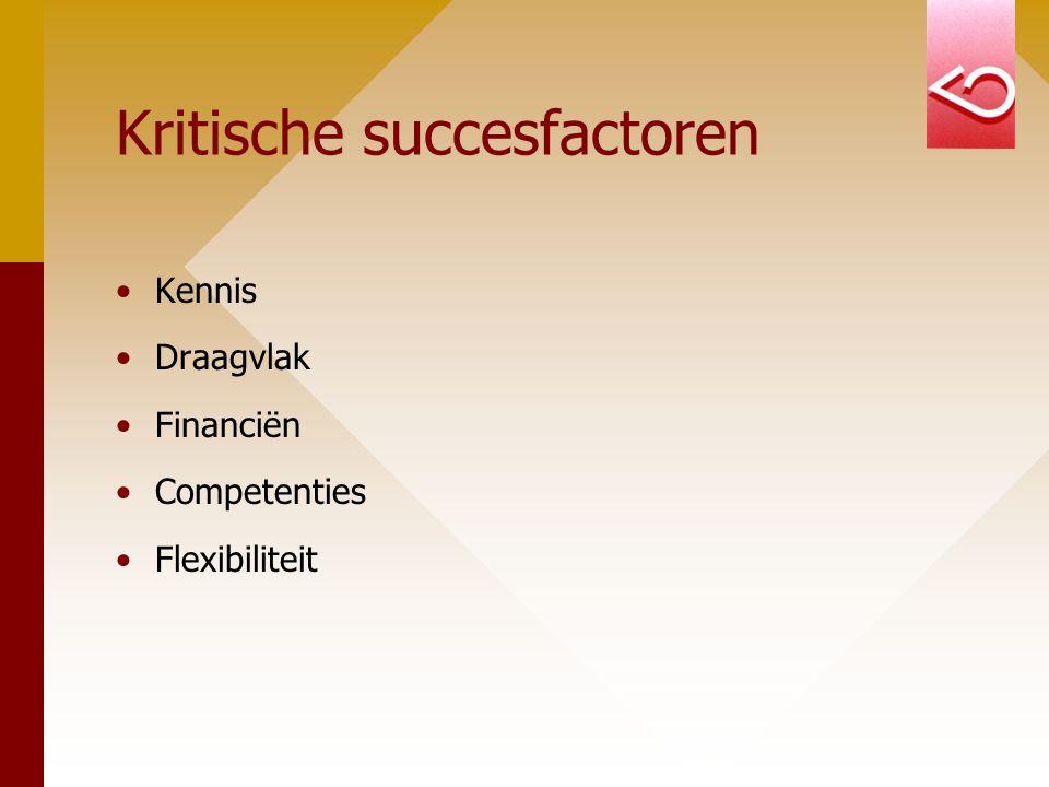 Kritische succesfactoren Kennis Draagvlak Financiën Competenties Flexibiliteit