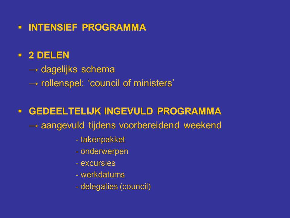  INTENSIEF PROGRAMMA  2 DELEN → dagelijks schema → rollenspel: 'council of ministers'  GEDEELTELIJK INGEVULD PROGRAMMA → aangevuld tijdens voorbere