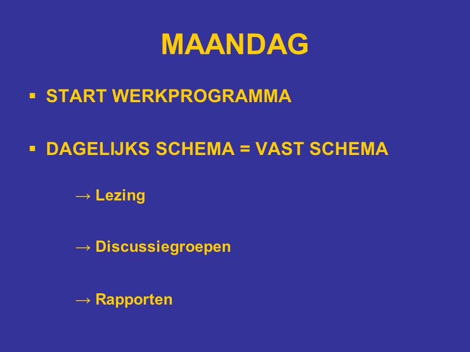 MAANDAG  START WERKPROGRAMMA  DAGELIJKS SCHEMA = VAST SCHEMA → Lezing → Discussiegroepen → Rapporten