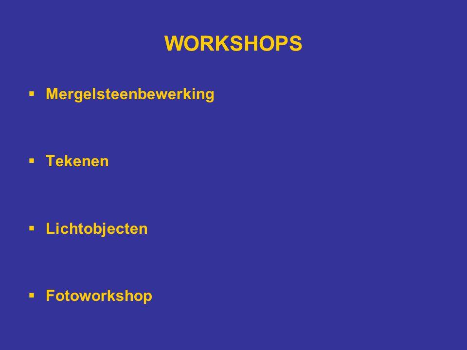 WORKSHOPS  Mergelsteenbewerking  Tekenen  Lichtobjecten  Fotoworkshop