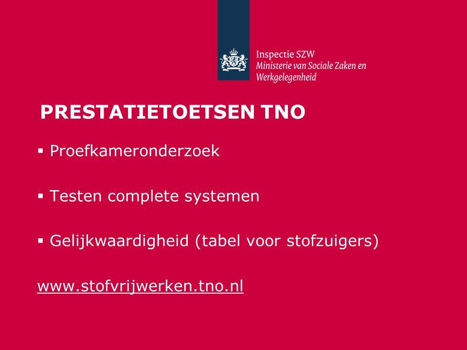 PRESTATIETOETSEN TNO  Proefkameronderzoek  Testen complete systemen  Gelijkwaardigheid (tabel voor stofzuigers) www.stofvrijwerken.tno.nl
