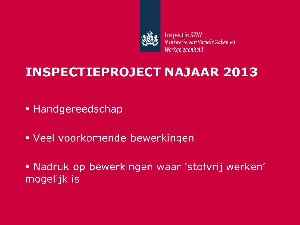 INSPECTIEPROJECT NAJAAR 2013  Handgereedschap  Veel voorkomende bewerkingen  Nadruk op bewerkingen waar 'stofvrij werken' mogelijk is