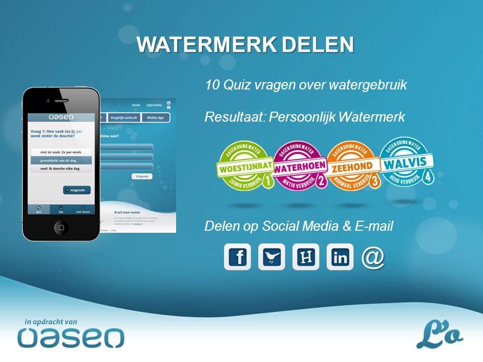 WATERMERK DELEN 10 Quiz vragen over watergebruik Resultaat: Persoonlijk Watermerk Delen op Social Media & E-mail @