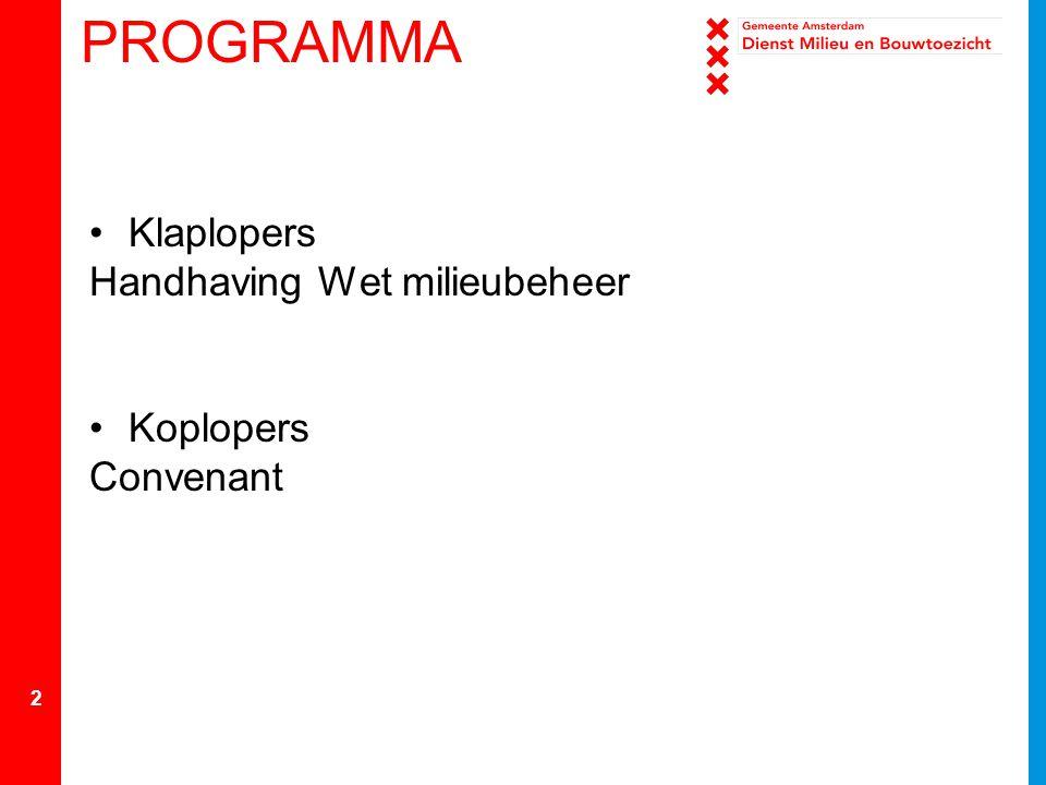 2 PROGRAMMA Klaplopers Handhaving Wet milieubeheer Koplopers Convenant
