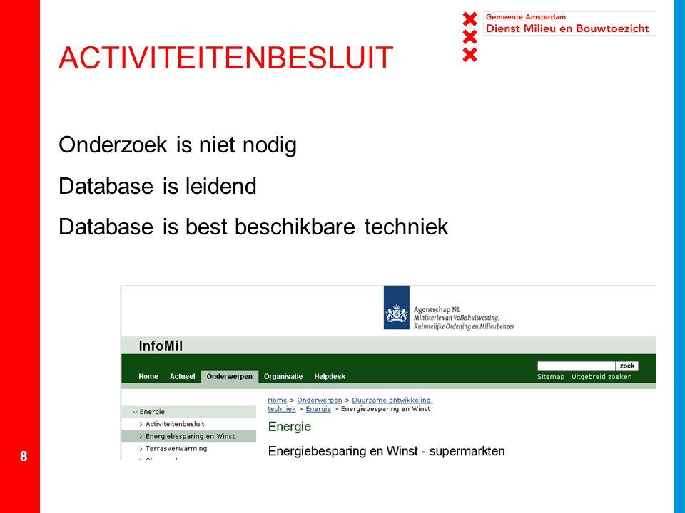 8 ACTIVITEITENBESLUIT Onderzoek is niet nodig Database is leidend Database is best beschikbare techniek