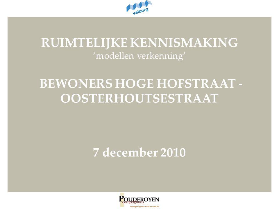 RUIMTELIJKE KENNISMAKING 'modellen verkenning' BEWONERS HOGE HOFSTRAAT - OOSTERHOUTSESTRAAT 7 december 2010