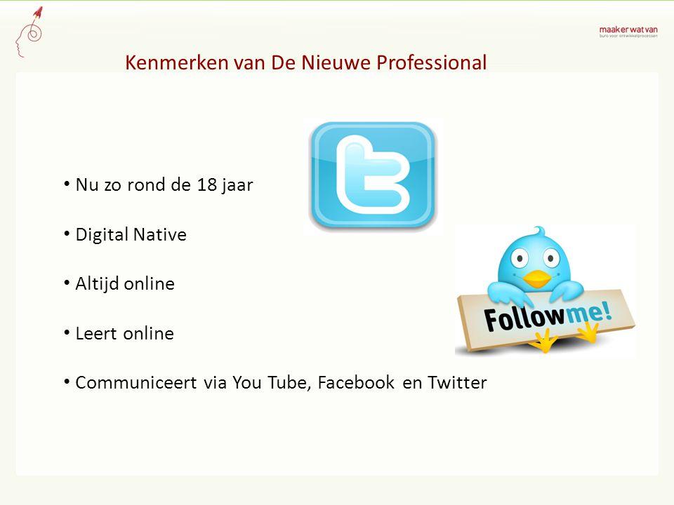 Kenmerken van De Nieuwe Professional Nu zo rond de 18 jaar Digital Native Altijd online Leert online Communiceert via You Tube, Facebook en Twitter