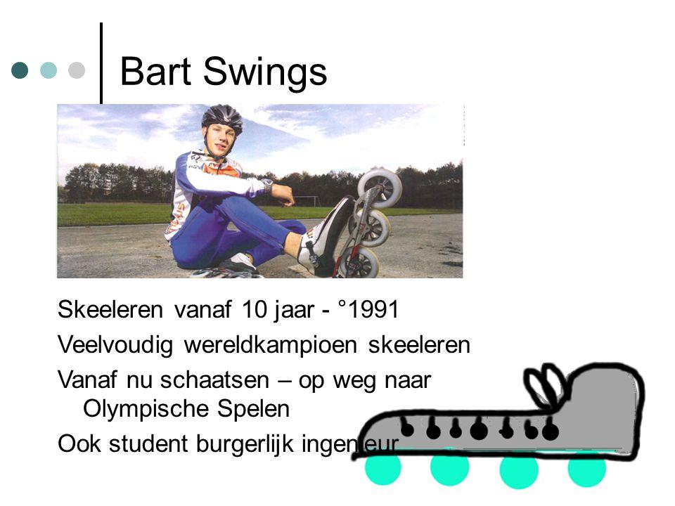 Bart Swings Skeeleren vanaf 10 jaar - °1991 Veelvoudig wereldkampioen skeeleren Vanaf nu schaatsen – op weg naar Olympische Spelen Ook student burgerlijk ingenieur