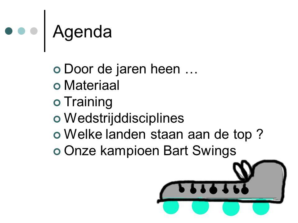Agenda Door de jaren heen … Materiaal Training Wedstrijddisciplines Welke landen staan aan de top .