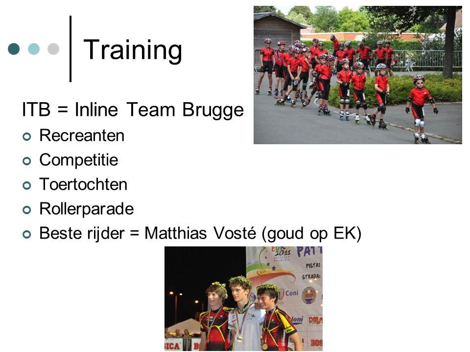 Training ITB = Inline Team Brugge Recreanten Competitie Toertochten Rollerparade Beste rijder = Matthias Vosté (goud op EK)