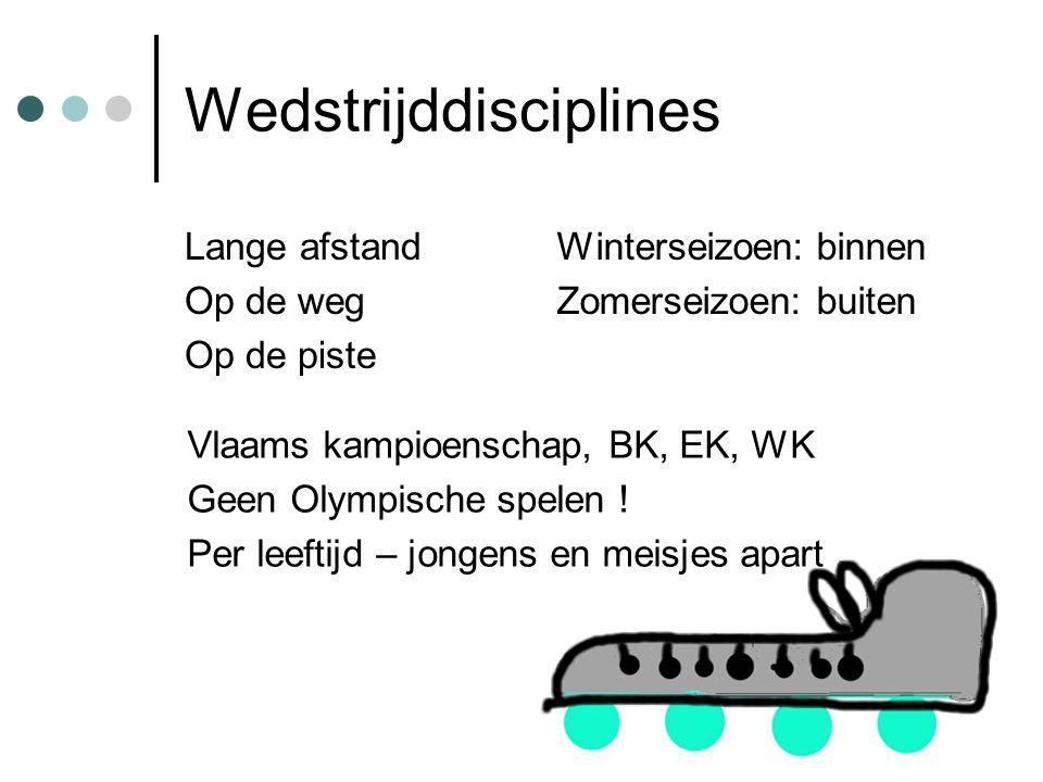 Wedstrijddisciplines Lange afstand Op de weg Op de piste Winterseizoen: binnen Zomerseizoen: buiten Vlaams kampioenschap, BK, EK, WK Geen Olympische spelen .