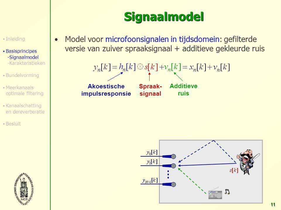 10 Overzicht Inleiding Basisprincipes  Signaalmodel  Karakteristieken van signalen en akoestische omgeving Robuuste breedband-bundelvorming Meerkanaals optimale filtering Akoestische-kanaalschatting en dereverberatie Besluit en verder onderzoek