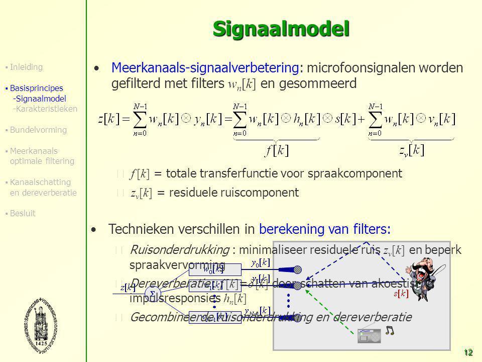 11 Signaalmodel Model voor microfoonsignalen in tijdsdomein: gefilterde versie van zuiver spraaksignaal + additieve gekleurde ruis Akoestische impulsr