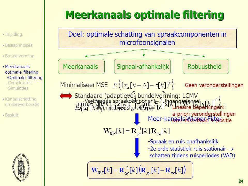 23 Overzicht Inleiding Basisprincipes Robuuste breedband-bundelvorming Meerkanaals optimale filtering  GSVD-gebaseerde optimaal-filtertechniek  Verm