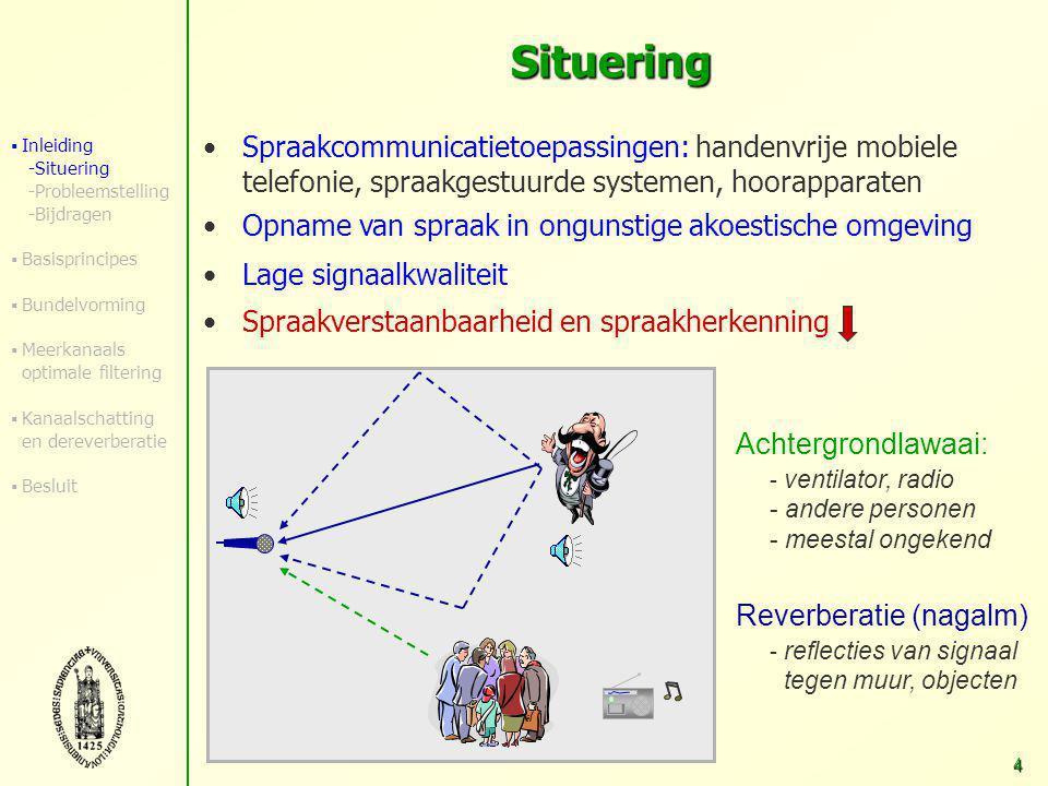 3 Overzicht Inleiding  Situering en toepassingen  Probleemstelling  Bijdragen Basisprincipes Robuuste breedband-bundelvorming Meerkanaals optimale filtering Akoestische-kanaalschatting en dereverberatie Besluit en verder onderzoek