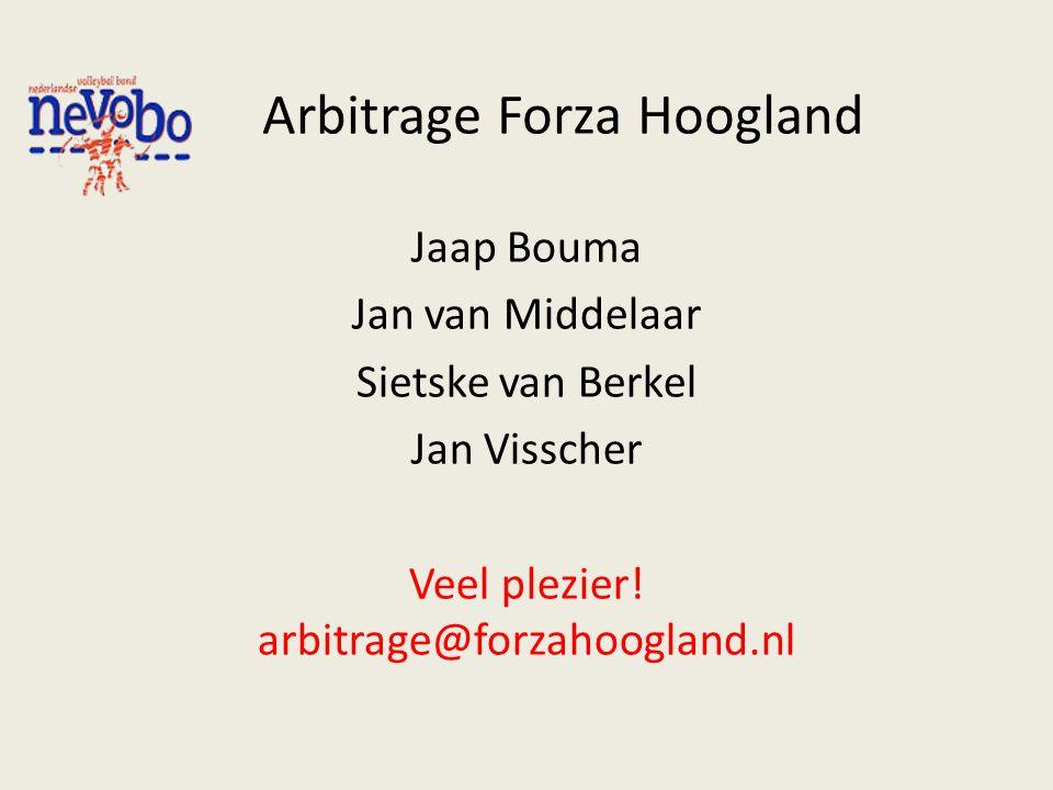 Arbitrage Forza Hoogland Jaap Bouma Jan van Middelaar Sietske van Berkel Jan Visscher Veel plezier! arbitrage@forzahoogland.nl