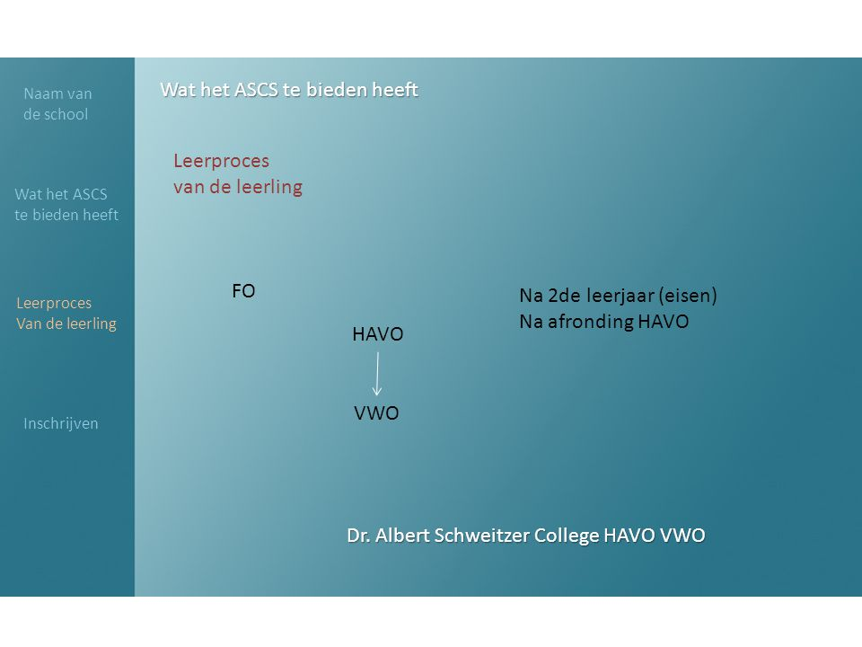 Dr. Albert Schweitzer College HAVO VWO Naam van de school Wat het ASCS te bieden heeft Leerproces Van de leerling Inschrijven Wat het ASCS te bieden h