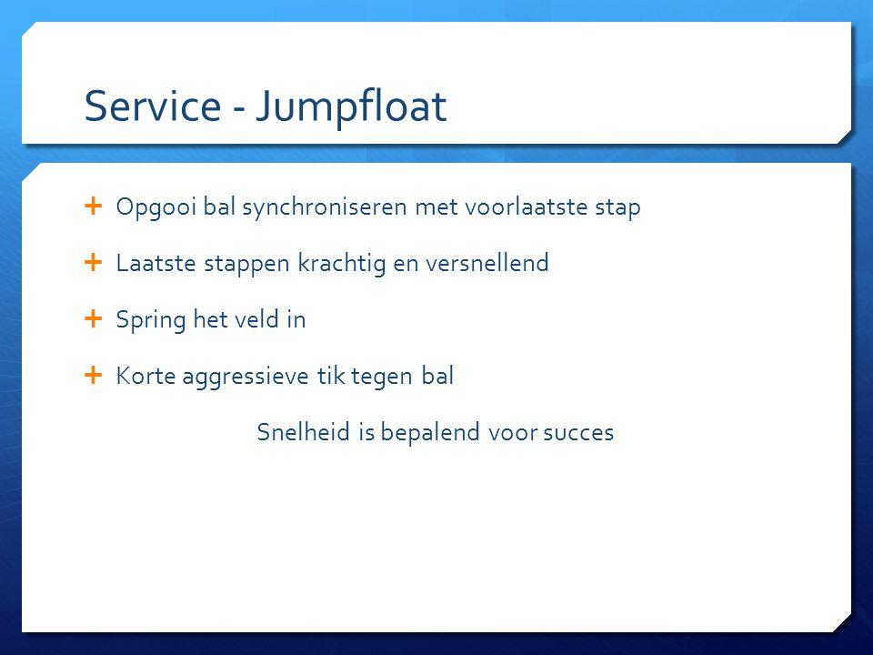Service - Jumpfloat  Opgooi bal synchroniseren met voorlaatste stap  Laatste stappen krachtig en versnellend  Spring het veld in  Korte aggressiev