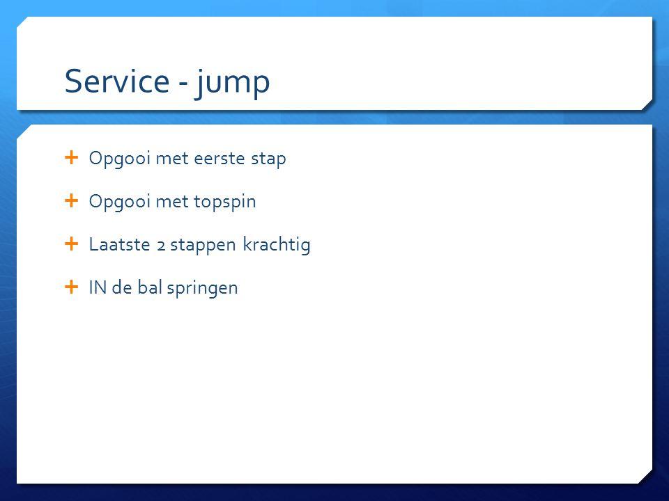 Service - jump  Opgooi met eerste stap  Opgooi met topspin  Laatste 2 stappen krachtig  IN de bal springen
