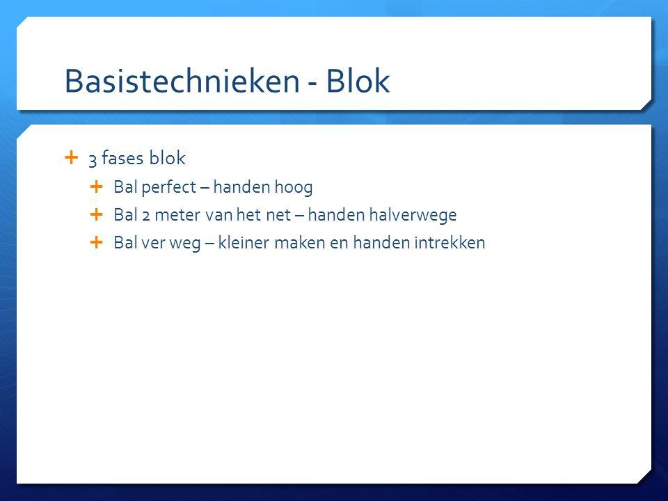 Basistechnieken - Blok  3 fases blok  Bal perfect – handen hoog  Bal 2 meter van het net – handen halverwege  Bal ver weg – kleiner maken en hande