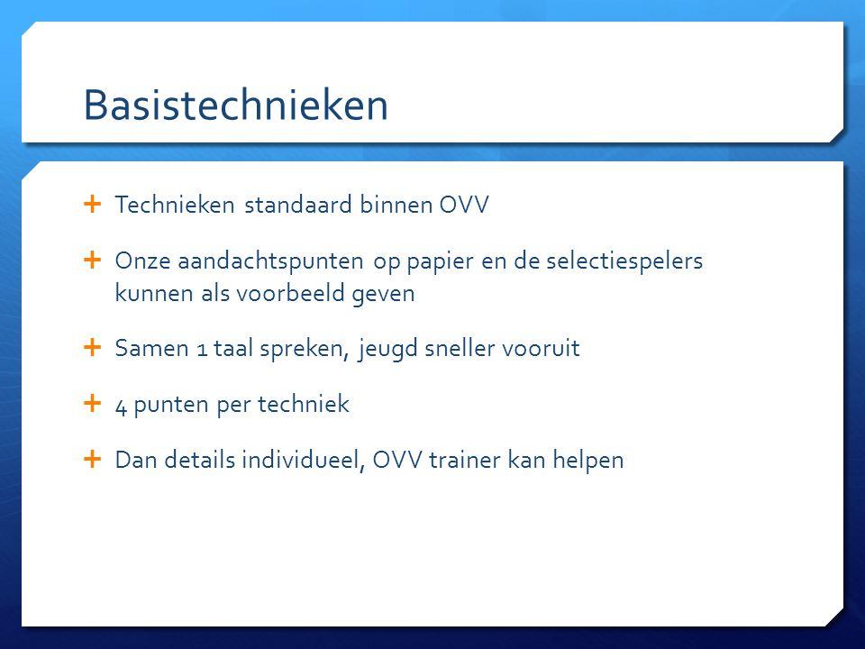 Basistechnieken  Technieken standaard binnen OVV  Onze aandachtspunten op papier en de selectiespelers kunnen als voorbeeld geven  Samen 1 taal spr
