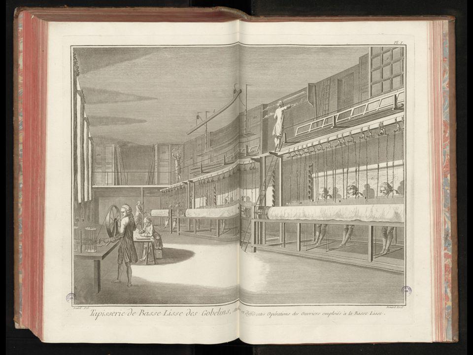 Tapijtwevers aan het werk in de Koninklijke Wandtapijtfabriek van Parijs.