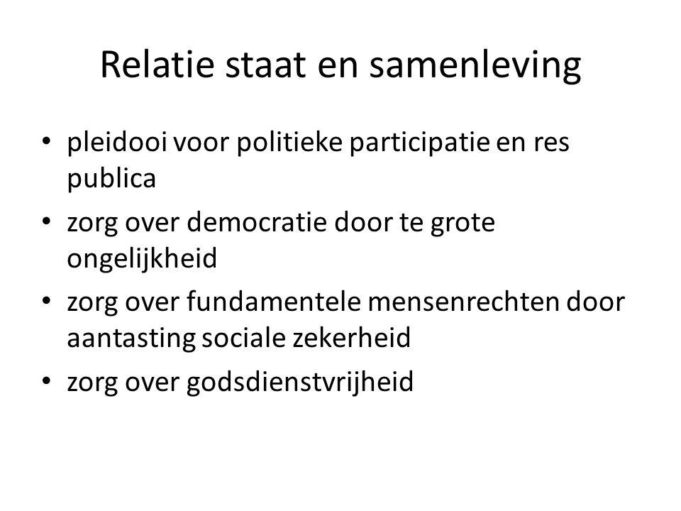 Relatie staat en samenleving pleidooi voor politieke participatie en res publica zorg over democratie door te grote ongelijkheid zorg over fundamentel