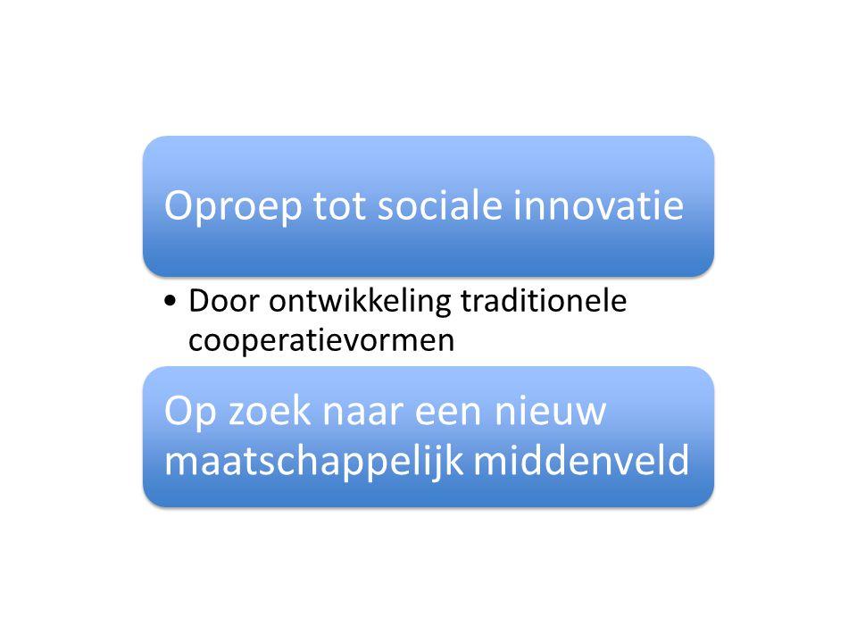 Oproep tot sociale innovatie Door ontwikkeling traditionele cooperatievormen Op zoek naar een nieuw maatschappelijk middenveld