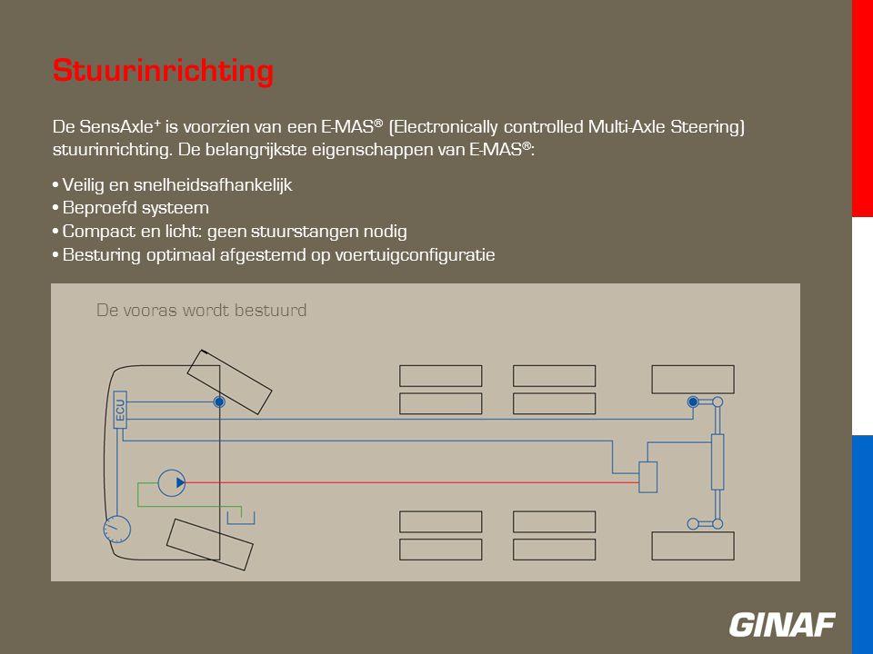 Stuurinrichting De vooras wordt bestuurd De SensAxle + is voorzien van een E-MAS ® (Electronically controlled Multi-Axle Steering) stuurinrichting.