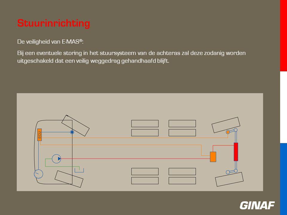 Stuurinrichting De veiligheid van E-MAS ® : Bij een eventuele storing in het stuursysteem van de achteras zal deze zodanig worden uitgeschakeld dat een veilig weggedrag gehandhaafd blijft.