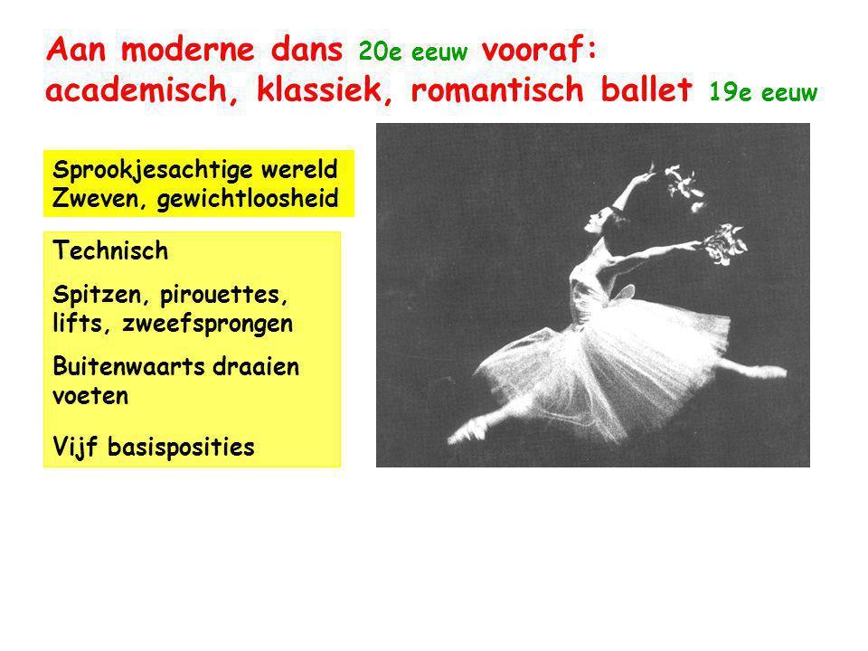 Aan moderne dans 20e eeuw vooraf: academisch, klassiek, romantisch ballet 19e eeuw Sprookjesachtige wereld Zweven, gewichtloosheid Technisch Spitzen, pirouettes, lifts, zweefsprongen Buitenwaarts draaien voeten Vijf basisposities