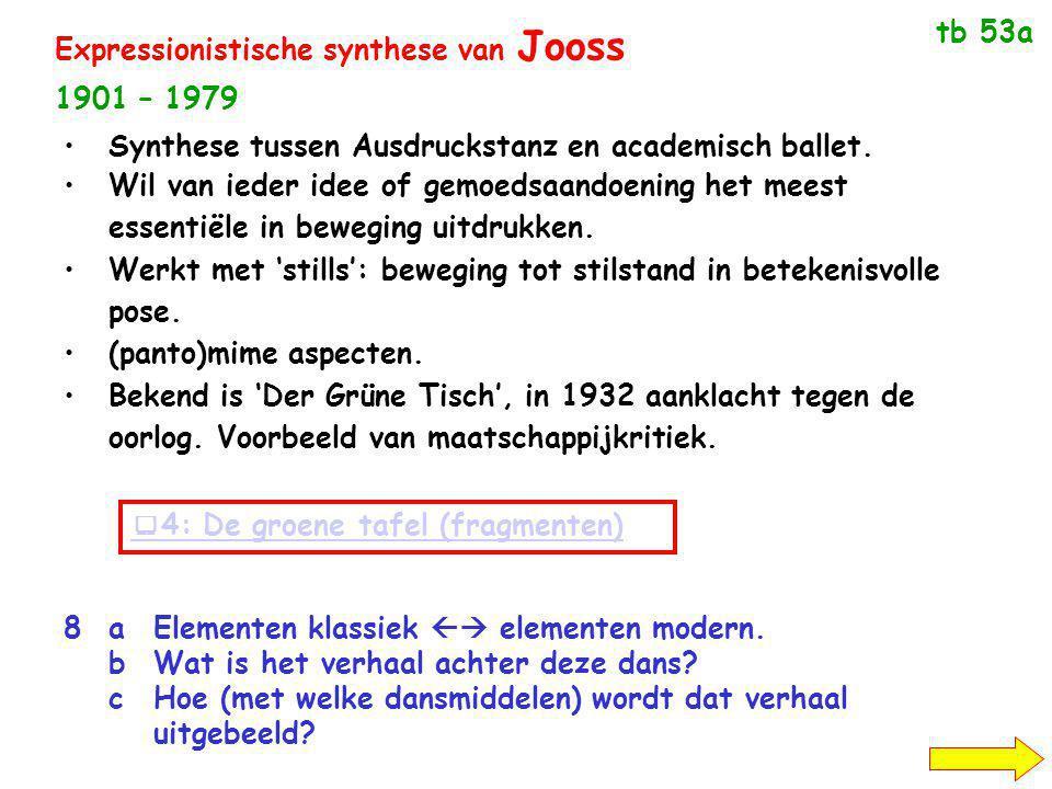 Expressionistische synthese van Jooss 1901 – 1979  4: De groene tafel (fragmenten) Synthese tussen Ausdruckstanz en academisch ballet.