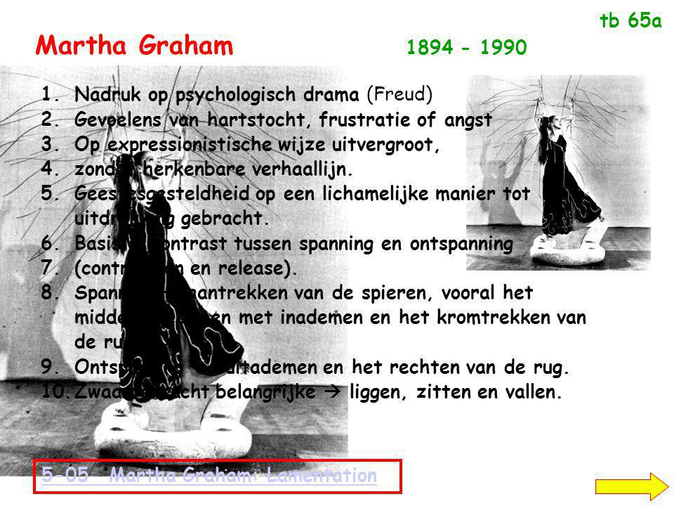 Martha Graham 1894 - 1990 1.Nadruk op psychologisch drama (Freud) 2.Gevoelens van hartstocht, frustratie of angst 3.Op expressionistische wijze uitvergroot, 4.zonder herkenbare verhaallijn.