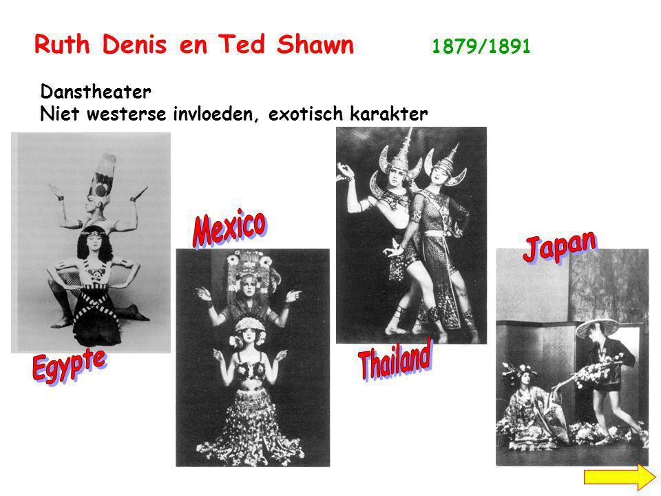 Ruth Denis en Ted Shawn 1879/1891 Danstheater Niet westerse invloeden, exotisch karakter