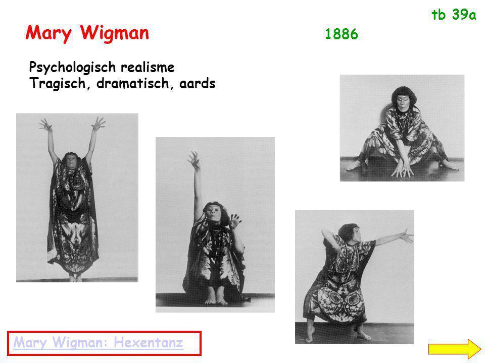 Mary Wigman 1886 Psychologisch realisme Tragisch, dramatisch, aards Mary Wigman: Hexentanz tb 39a