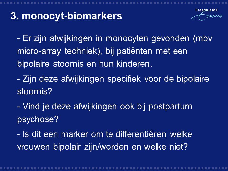 3. monocyt-biomarkers  - Er zijn afwijkingen in monocyten gevonden (mbv micro-array techniek), bij patiënten met een bipolaire stoornis en hun kinder