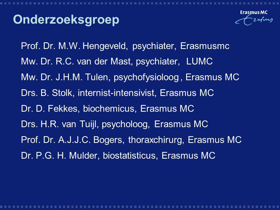 Onderzoeksgroep  Prof. Dr. M.W. Hengeveld, psychiater,Erasmusmc  Mw. Dr. R.C. van der Mast, psychiater, LUMC  Mw. Dr. J.H.M. Tulen, psychofysioloog