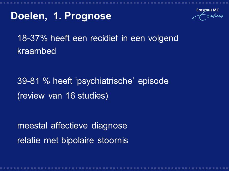 Doelen, 1. Prognose  18-37% heeft een recidief in een volgend kraambed  39-81 % heeft 'psychiatrische' episode  (review van 16 studies)  meestal a