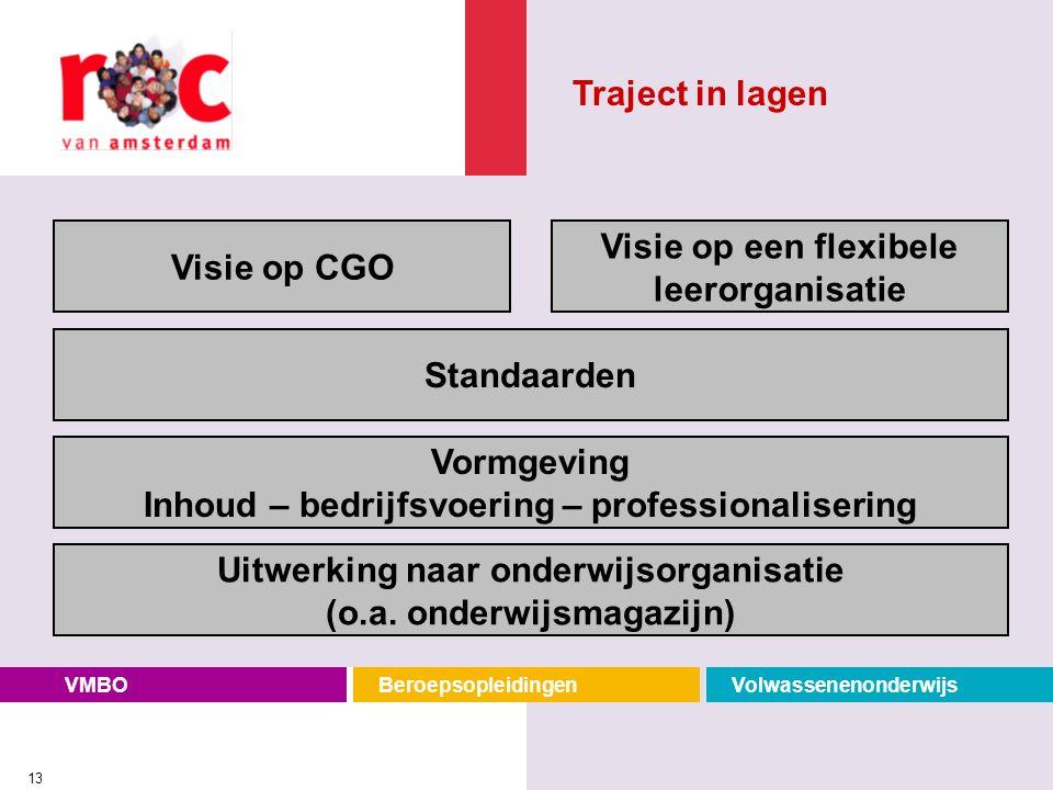 VMBOBeroepsopleidingenVolwassenenonderwijs 13 Standaarden Vormgeving Inhoud – bedrijfsvoering – professionalisering Visie op een flexibele leerorganis