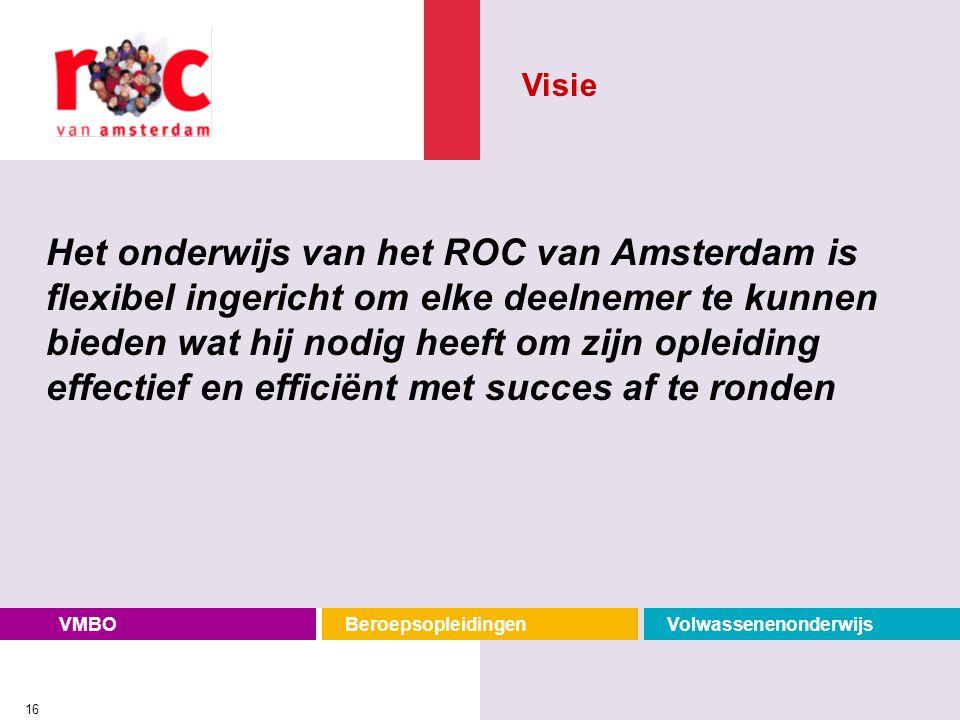 VMBOBeroepsopleidingenVolwassenenonderwijs 16 Het onderwijs van het ROC van Amsterdam is flexibel ingericht om elke deelnemer te kunnen bieden wat hij