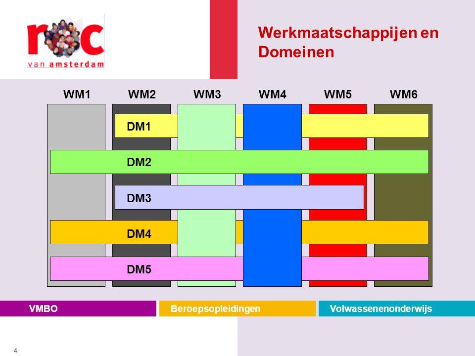 VMBOBeroepsopleidingenVolwassenenonderwijs 4 WM1WM2WM3WM4WM5WM6 DM1 DM2 DM3 DM4 DM5 Werkmaatschappijen en Domeinen