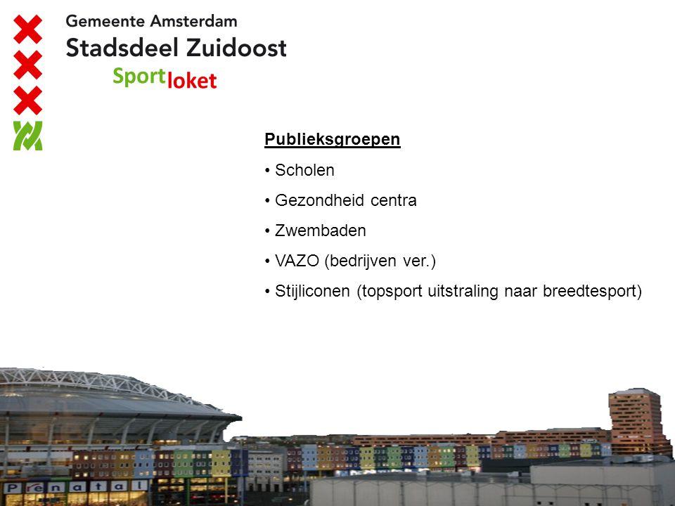 Publieksgroepen Scholen Gezondheid centra Zwembaden VAZO (bedrijven ver.) Stijliconen (topsport uitstraling naar breedtesport)